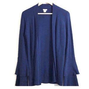 J Crew Ruffle Sleeve Cotton Open Cardigan Navy XL